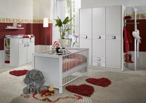 Komplett Babyzimmer 6tlg-Set in weiß Kleiderschrank Babybett Wickelkommode