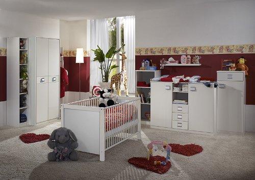 Komplett Babyzimmer 8tlg-Set in weiß Kleiderschrank Babybett Wickelkommode