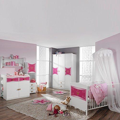 Komplett Babyzimmer Babymöbel Mädchenzimmer Babybett Gitterbett weiß rosa Bett