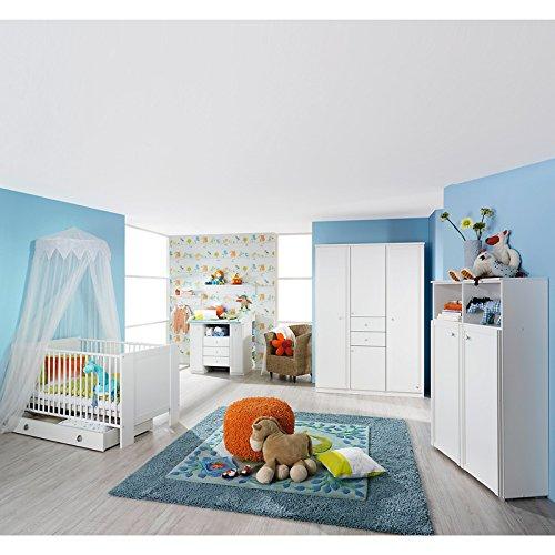 Komplett Babyzimmer Babymöbel Wickelkommode Babybett weiß Kleiderschrank Regale