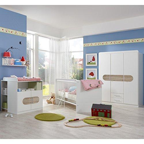 Komplett Babyzimmer Eiche weiß Babybett Kleiderschrank Baby Gitterbett Highboard