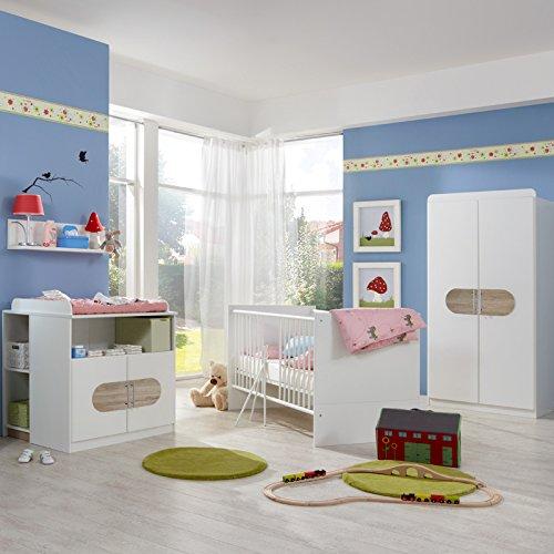 Komplett Babyzimmer Eiche weiß Babybett Kleiderschrank Gitterbett Wickeltisch
