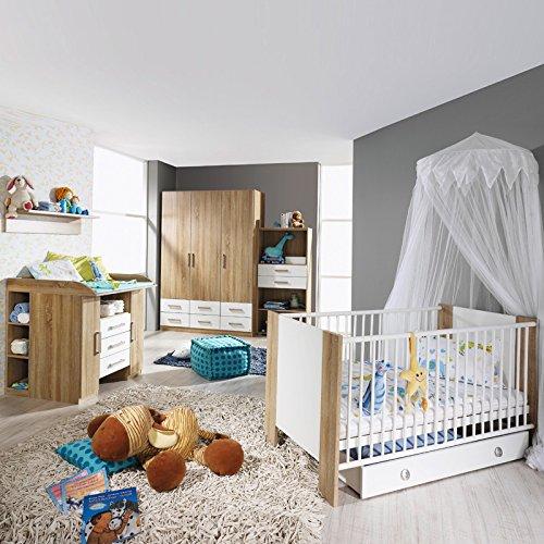 Komplett Babyzimmer Eiche - weiß Babymöbel Babybett Wickelkommde Kleiderschrank