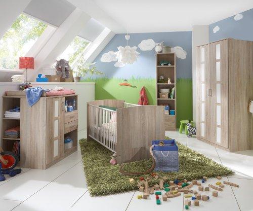 Komplett Babyzimmer Eiche - weiß Kleiderschrank Gitterbett Wickeltisch Regal