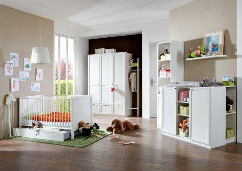 Komplett Babyzimmer Möbel Set weiß Wickeltisch Gitterbett Kleiderschrank Regale