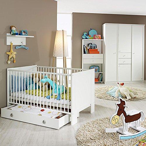 Komplett Babyzimmer Set Babymöbel Babybett weiß Kleiderschrank Regal Wandboard