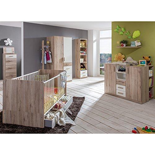 Komplett Babyzimmer Set Babymöbel Gitterbett Babybett Wickelkommode Babyschränke