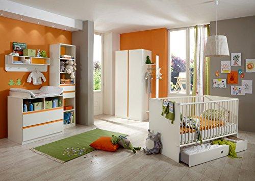 Komplett Babyzimmer Set weiß Gitterbett Kleiderschrank Babybett Wickelkommode