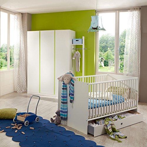 Komplett Babyzimmer Set weiß - grün Gitterbett Kleiderschrank Babybett