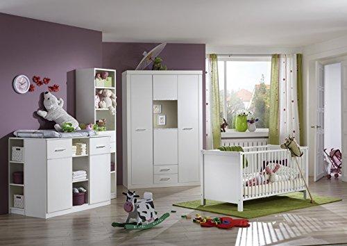 Komplett Babyzimmer in weiß - Strasskristall Wickelkommode Babybett Schrank