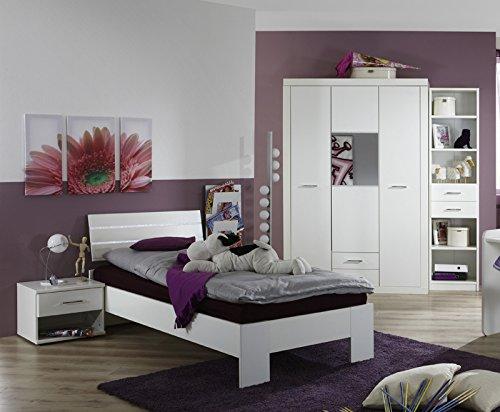 Komplett Jugendzimmer 4-tlg Kinderzimmer in alpinweiß - Strasskristall Bett