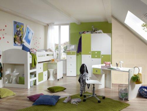 Komplett Jugendzimmer weiß grün Hochbett Kleiderschrank Schreibtisch Kommode