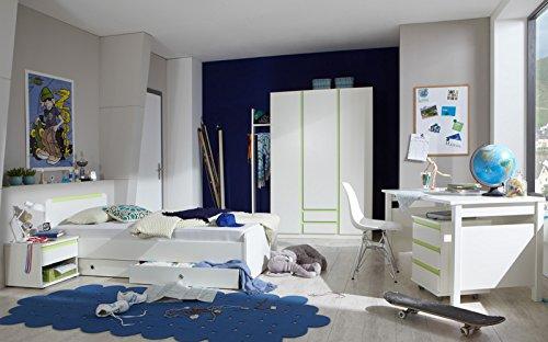 Komplett Jugendzimmer weiß grün Kleiderschrank Schreibtisch Jugendbett Garderobe