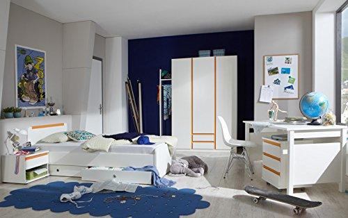 Komplett Jugendzimmer weiß - orange Kleiderschrank Schreibtisch Bett Nachttisch