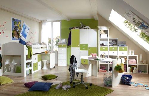 Komplett Jugendzimmer weiss apfelgrün Jugendbett Kleiderschrank Schreibtisch