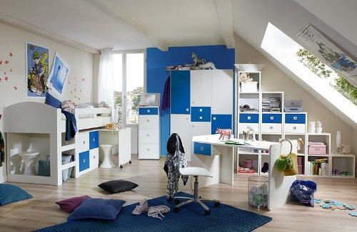Komplett Jugendzimmer weiss - blau Jugendbett Kleiderschrank Schreibtisch