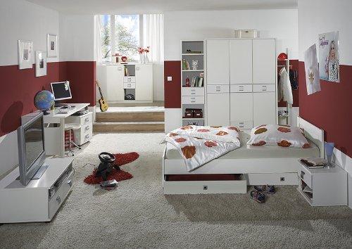 Komplett Kinderzimmer 11tlg-Set weiß Kleiderschrank Schreibtisch Jugendbett