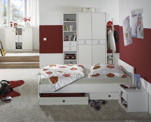 Komplett Kinderzimmer 8-tlg Set weiß Kleiderschrank Sideboard Jugendbett