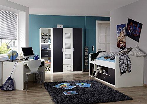 Komplett Kinderzimmer weiß anthrazit Jugendbett Kleiderschrank Schreibtisch