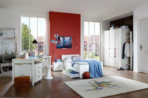 Komplett Kindzimmer Set weiß Schreibtisch Jugendbett Kleiderschrank Jugendzimmer
