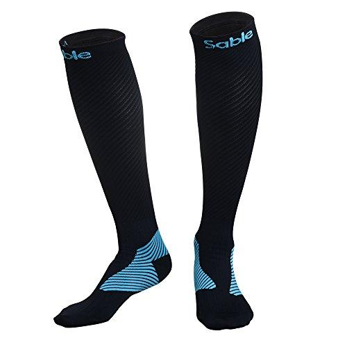 Kompressionsstrümpfe Sable Socken für Damen & Herren, Strümpfe Laufsocken Rennsocken für Sport, Reisen, Flüge, Fitnessstudio, Medizinische Zwecke und Bessere Leistung