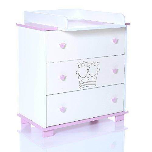 LCP KIDS Baby Wickelkommode Prinzessin rosa weiss mit 3 grossen Schubladen und und abnehmbaren Wickelaufsatz