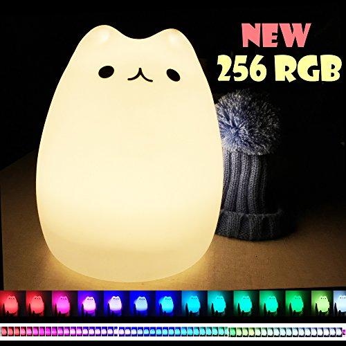 LED Nachtlicht Baby Nachtlampe Kinderzimmer, Silikon Nachtlicht Katze Dondidondy (Warmweiß/256RGB), Abnehmbarer Hut, Für Babys, Kinder, Erwachsene, Schlafzimmer, Babyzimmer, Nachtlichter Geschenk