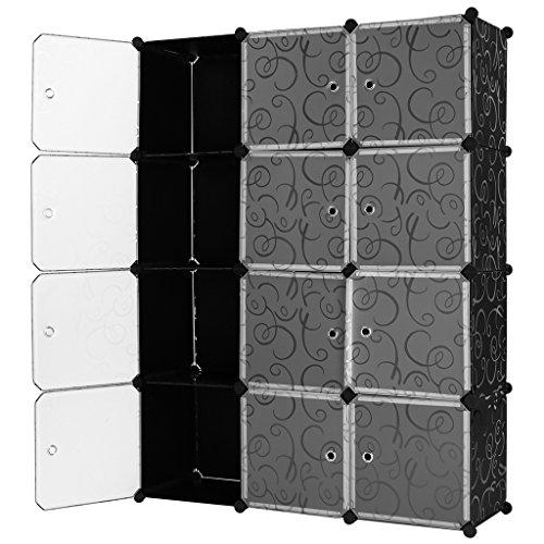 Langria Steckregalsystem mit durchscheinenden weißen Türen, vielseitig verwendbar, modulares System, Design mit schwarzem Kringelmuster