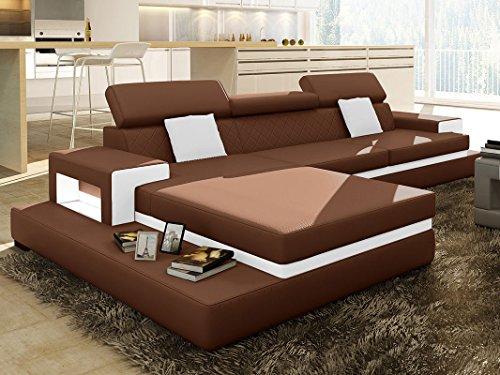leder wohnlandschaft l form braun ledersofa mit beleuchtung kenia polsterecke couchgarnitur. Black Bedroom Furniture Sets. Home Design Ideas