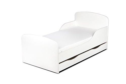 Leomark KINDERBETT 140x70 mit Schublade Funktionsbett Einzelbett mit Matratze Motiv: weiß Sehr Einfache Montage, Bettkasten