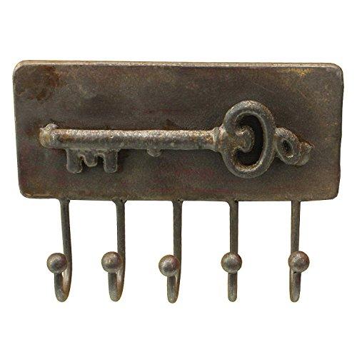 MACOSA HOME Schlüsselleiste für bis zu 5 Schlüssel Rechteckig mit tollerSchlüssel- Applikation Vintage Retro Antik rostig Garderobenhaken Kleiderhaken Handtuchhaken Schlüsse-Haken