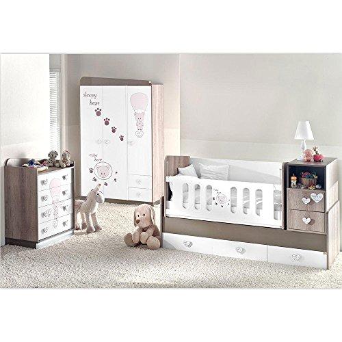 Mitwachsendes Komplett Babyzimmer Cute Bear mit 3 türigem Kl. von 0 bis 12 Jahren