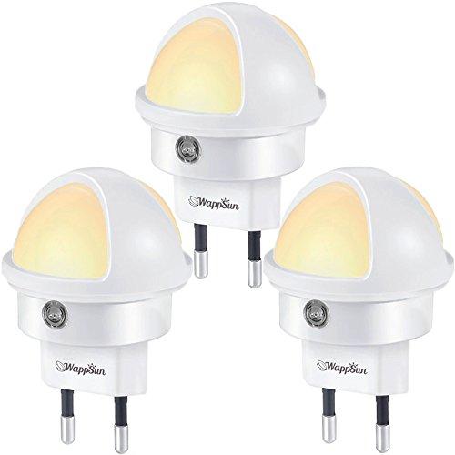 Nachtlampe 3er-Set Warmweiß, WappSun Kompaktes LED Nachtlicht mit Dämmerungssensor, Stromsparend nur 0,26 W, Bequemer 360° Drehkopf, Nachtlicht für Baby, Flur, Kinderzimmer, Treppen, [Energieklasse A+]