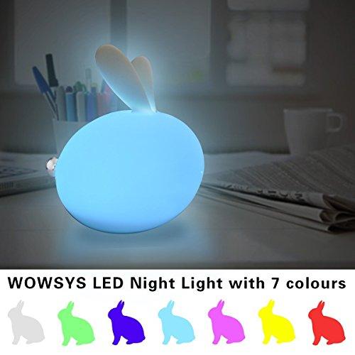 Nettes Kaninchen-Kind-Nacht LED-Licht, weiches Silikon Material und waschbares Gesicht / Hahn-Steuerung / 7 Farbwechsel, Helligkeits-justierbar, USB-nachladbar