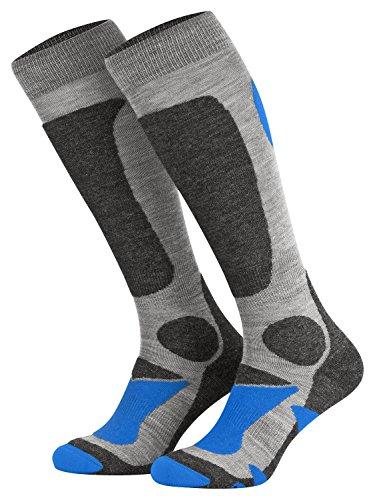 Piarini 2 Paar Unisex Skisocken Skistrumpf Herren, Damen und Kinder für Wintersport, Snowboard atmungsaktive Socken Knie-Strümpfe Thermosocken Funktionssocken aus Merino Wolle Outdoorsocken