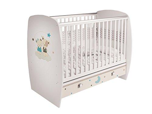 Polini Kids Babybett Gitterbett Kinderbett 710 120x60 cm weiß mit verschiedenen Motiven