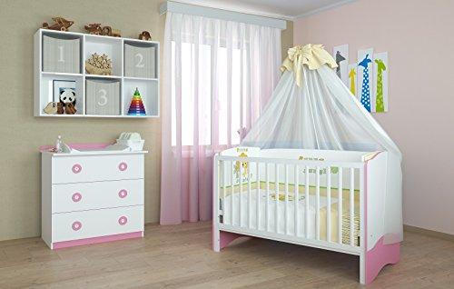 Polini Kids Babyzimmer Kinderzimmer Kombikinderbett mit Matzratze und Wickelkommode in weiß - rosa