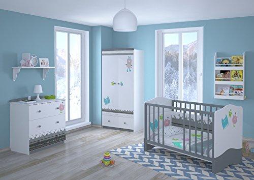 Polini Kids Babyzimmer Kinderzimmer komplett Set L Basic Modell Monsters 4-teilig mit Babybett/Kinderbett/Juniorbett, Wickelkommode, Kinderkleiderschrank, Matratze