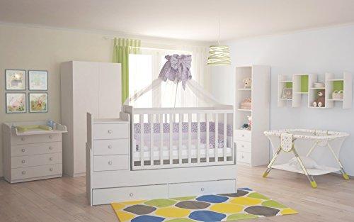 Polini Kids Babyzimmer Kinderzimmer komplett Set weiß 4-teilig mit Babybett/Kinderbett/Juniorbett, Wickelkommode, Kinderkleiderschrank, Standregal