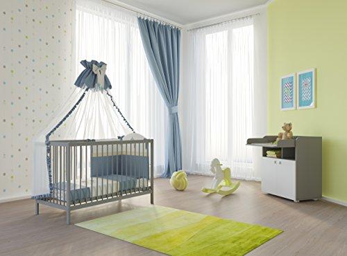 Polini Kids Babyzimmer Set mit Babybett/Gitterbett und Wickelkommode inclusive Matratze in verschiedenen Farben