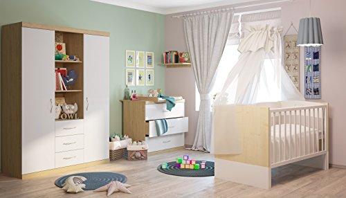Polini Kids Classic Kinderzimmer, Babyzimmer komplett Serie Classic in Eiche-weiß