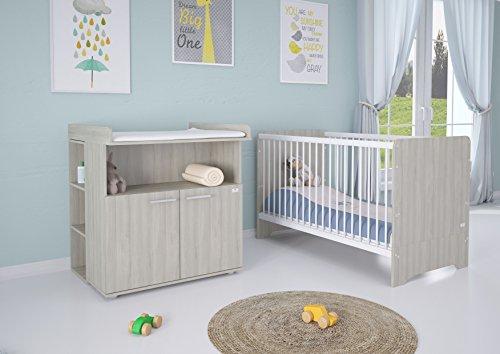 Polini Kids Kinderzimmer 6-teilig Babybett / Kinderbett mit Wickelkommode, Wickelaufsatz, Kommodenregal und Matratze