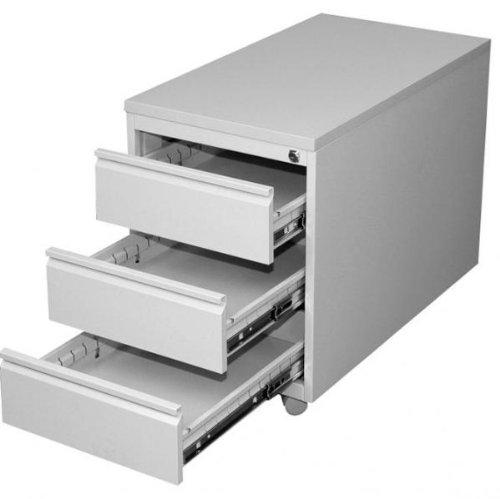Profi Stahl Büro Rollcontainer Bürocontainer Lichtgrau Maße: 620 x 460 x 790 mm (Höhe x Breite x Tiefe) 505800 kompl. montiert und verschweißt