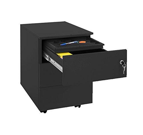 Profi Stahl Büro Rollcontainer Bürocontainer Schwarz 505921 Maße: 550 x 400 x 590 mm (Höhe x Breite x Tiefe) kompl. montiert und verschweißt