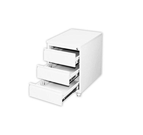 Profi Stahl Büro Rollcontainer weiss Bürocontainer 505307 weiß Maße: 620 x 460 x 600 mm kompl. montiert und verschweißt
