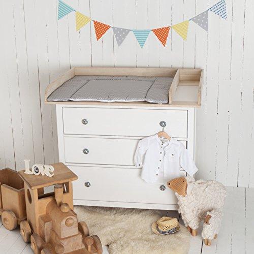 Puckdaddy XXL Naturholz + Trennfach! Wickelaufsatz für IKEA Hemnes Kommode