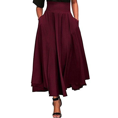 Röcke Damen, ZIYOU Casual Strand Röcke / Mädchen Basic Einfarbig Lange Rock Herbst Sommer