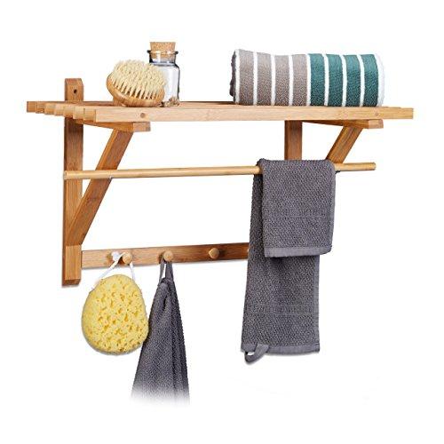 Relaxdays Wandgarderobe Bambus, Hutablage und Kleiderstange, Handtuchhalter mit Hakenleiste HBT 35 x 60 x 30 cm, natur
