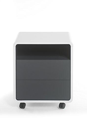 Robas Lund Schreibtisch- Container Bürocontainer Tadeo weiß/ anthrazit 38 x 47 x 55 cm