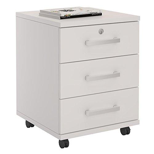 Rollcontainer Bürocontainer Büroschrank VANCOUVER, in weiß, abschließbar mit 3 Schubladen, 44 x 55 x 45 cm